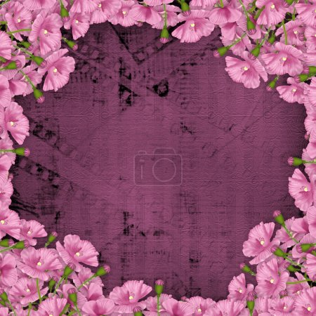 Grunge purple background with ancient digital ornament for greet
