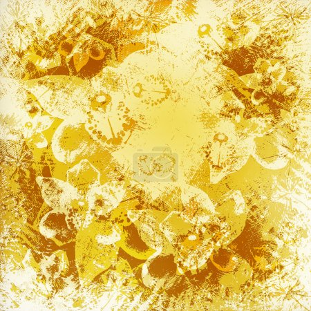 Light golden watercolor brush strokes with floral ornamental bac