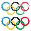 Olympic Rings - set of two. Grungy artistic brush and shape circles. Isolated over white background. Vector file saved as EPS AI8, no effects, easy print and edit.