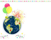 Earth Day Celebration - greeting card with balloons fireworks and confetti Vector file saved as EPS AI8 all elements layered grouped no effects easy print