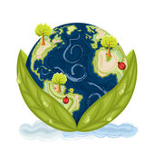 Our planet Earth inside green leaves with drops of water Preservation of Nature Isolated over white background Vector file saved as EPS AI8 no effects all elements layered easy edit and print