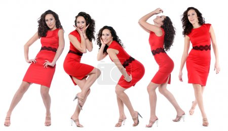 Happy young women in red dress