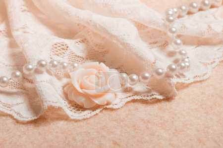 Photo for Wedding background with lace and pearl beads - Royalty Free Image
