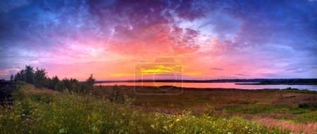 Photo for Summer panoramic landscape with river valley at sunset - Royalty Free Image