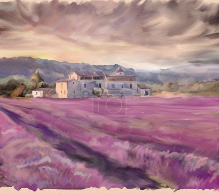 Photo for Lavender field in Provence. Watercolor painting - Royalty Free Image