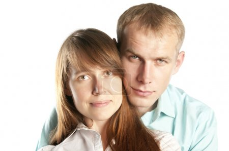 Portrait of young woman and man together
