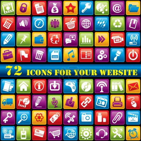Illustration for Vector set of 72 computer icons for your website - Royalty Free Image