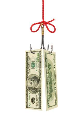 Photo pour Crochet de pêche et argent isolé sur fond blanc - image libre de droit