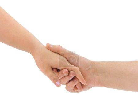 Photo pour Hommes et femmes mains isolées sur fond blanc - image libre de droit