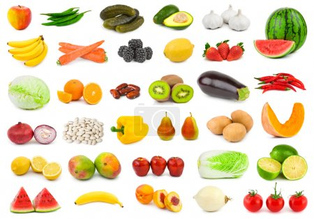 Photo for Set of fruits and vegetables isolated on white background - Royalty Free Image