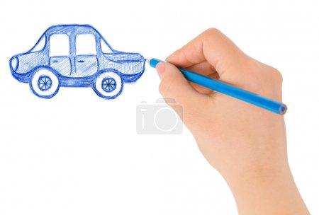 Photo pour Voiture de dessin à la main isolée sur fond blanc - image libre de droit