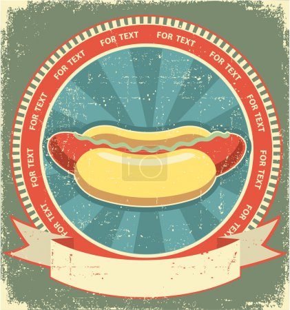 Hot dogs.Vintage label of fast food on old paper background