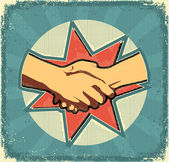 Handshake poster.Retro image on old paper texture