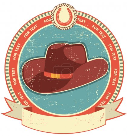 Illustration for Cowboy hat label on old paper texture.Vintage style - Royalty Free Image