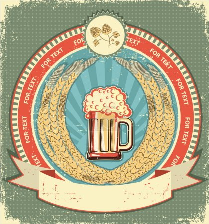 Beer symbol of label.Vintage background with scroll for text on