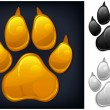 Yellow animal paw print isolated on black, vector ...