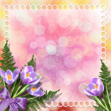 Multicoloured backdrop for greetings or invitations with bunch o