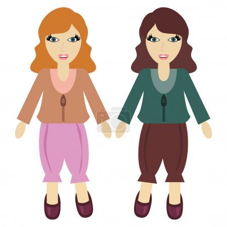 Two girls on white background vector...