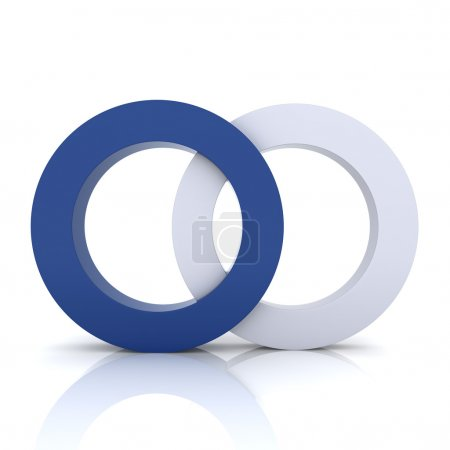 Photo for Blue metallic symbol with two circles (concept of union) - Royalty Free Image