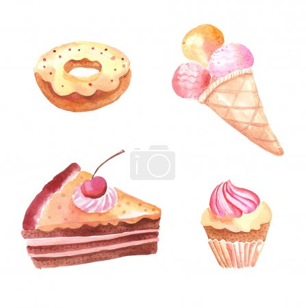 Set of watercolor illustrations with sweet cakes