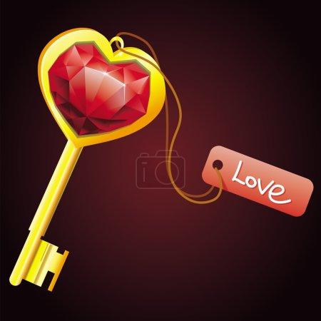 Illustration pour Clé d'or avec coeur de diamant avec étiquette - illustration vectorielle - image libre de droit