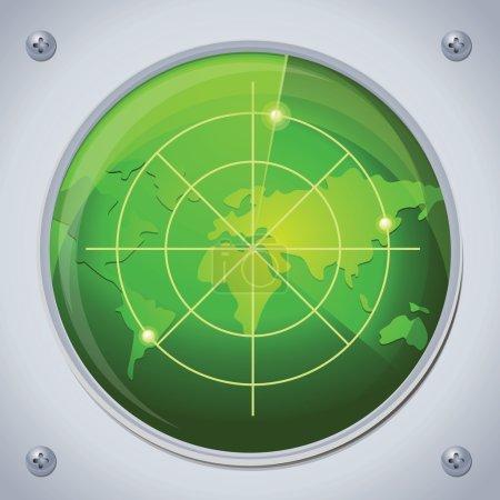 Illustration pour Vecteur radar en couleur verte - image libre de droit