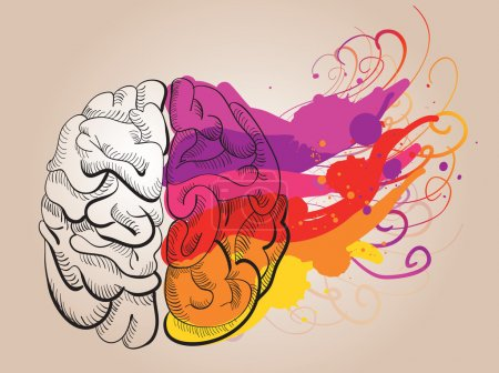 Vector concept - creativity and brain