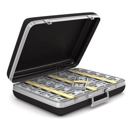 Koffer mit Geld auf weißem Hintergrund. isoliertes 3D-Bild