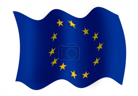 Photo for Raster graphics of windy EU flag - Royalty Free Image