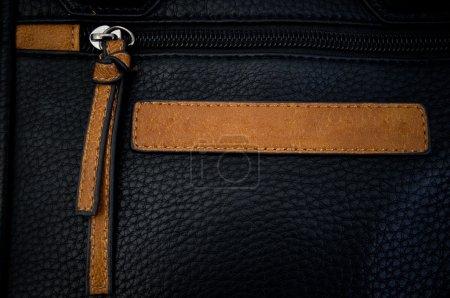 Black Zipper On A Leather Bag