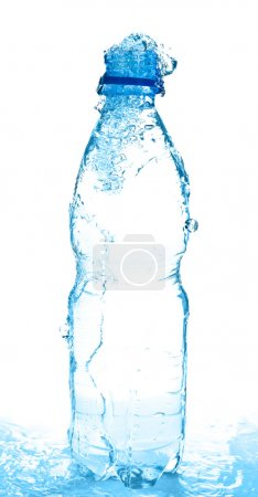 Photo for Pouring water from bottle on white - Royalty Free Image