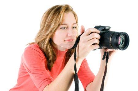 Foto de Joven rubia con cámaras aisladas en blanco - Imagen libre de derechos