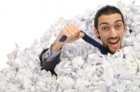 Photo for Man with lots of crumpled paper - Royalty Free Image