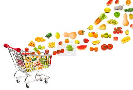Photo for Food products flying out of shopping cart - Royalty Free Image