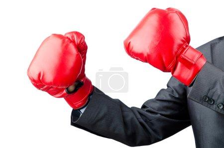 Photo pour Homme d'affaires avec des gants de boxe - image libre de droit