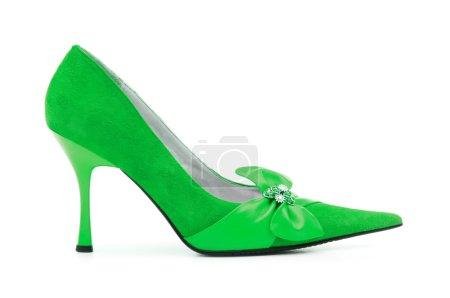 Photo pour Chaussures Femme Vert sur fond blanc - image libre de droit