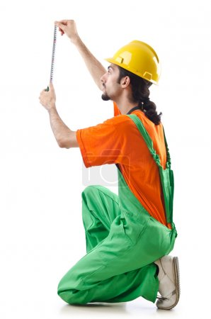 Photo for Construction worker isolated on white - Royalty Free Image