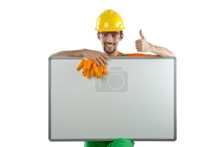 Photo pour Bâtisseur isolé sur le blanc - image libre de droit