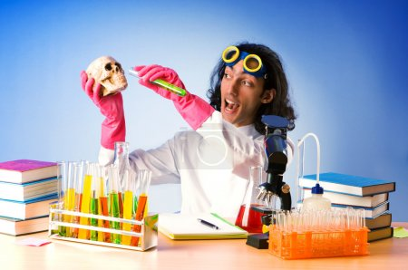 Photo for Chemist in the lab experimenting with solutions - Royalty Free Image