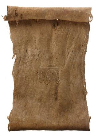 Photo pour Manuscrit rouleau rugueux brûlé vertical d'écorce de parchemin texture fond - image libre de droit