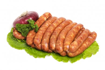 Photo for Tasty sausages on the white background - Royalty Free Image
