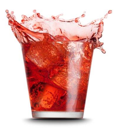 Photo for Red beverage splashed on isolated on white background - Royalty Free Image