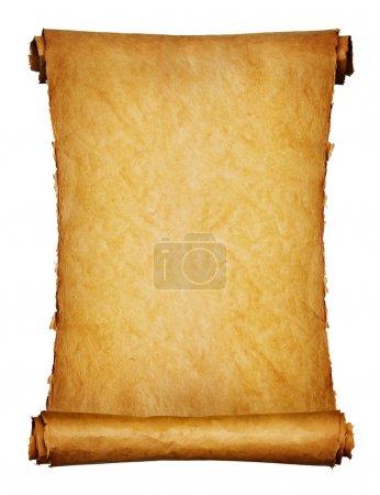 Foto de Vintage rollo de pergamino fondo aislado en blanco - Imagen libre de derechos