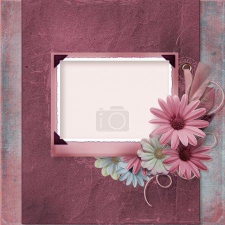 Photo pour Fond vintage avec album de famille flowers.page - image libre de droit