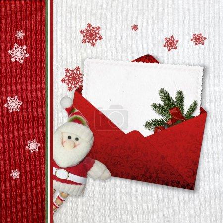 Photo pour Cartes de Noël avec le père Noël sur fond de tricot - image libre de droit