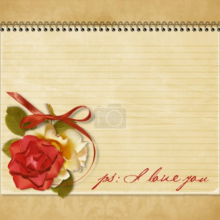 Vintage greeting card with a rose