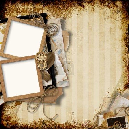 Old frames on the grunge vintage background