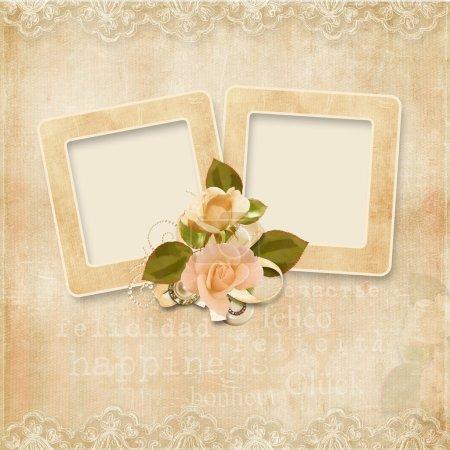 Photo pour Vintage fond avec cadre pour les félicitations et les invitations avec espace pour photo ou texte - image libre de droit