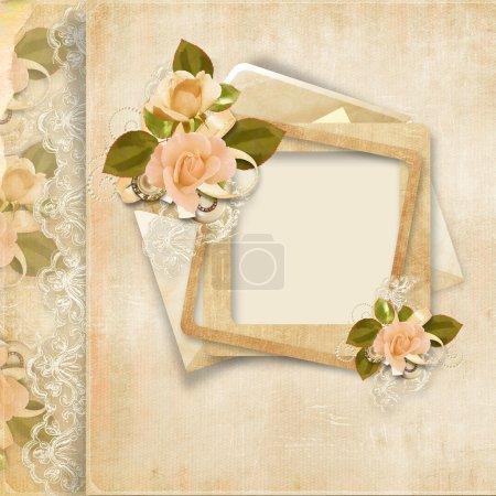 Photo pour Fond vintage avec cadre et rose pour félicitations et invitations avec espace pour photo ou texte - image libre de droit