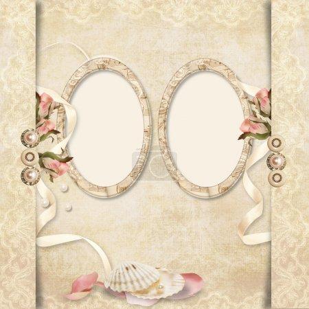 Photo pour Vintage fond avec carte et roses pour les félicitations et les invitations - image libre de droit